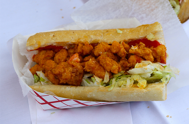 Shrimp Po-Boy at Oak Street Po-Boy Festival (Photo: GW Fins)