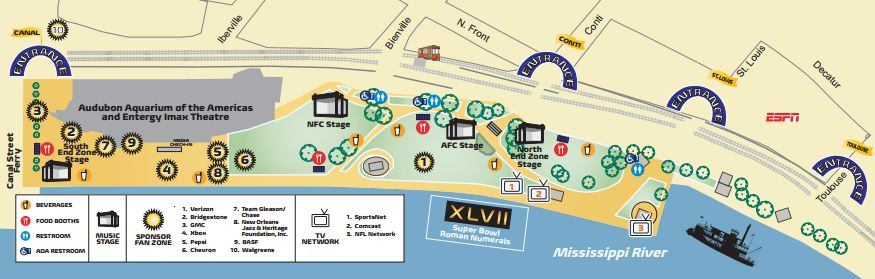Super Bowl Boulevard Concert Series Map XLVII 47 2013