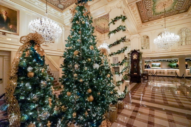 A glimpse of our opulently decorated lobby during the holidays.