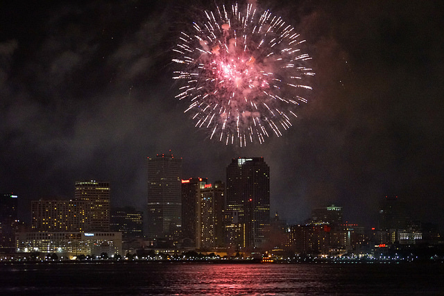 Fireworks over the Mississippi River in New Orleans. (Photo: Paul Broussard)