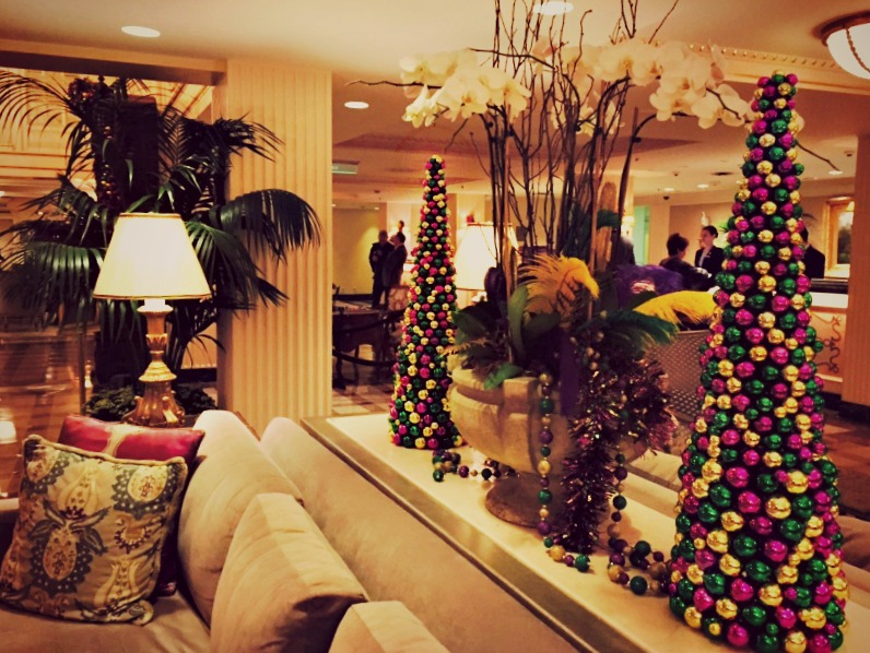 We've decorated our French Quarter hotel lobby in the colors of Carnival -- with a nod to popular Mardi Gras beads.