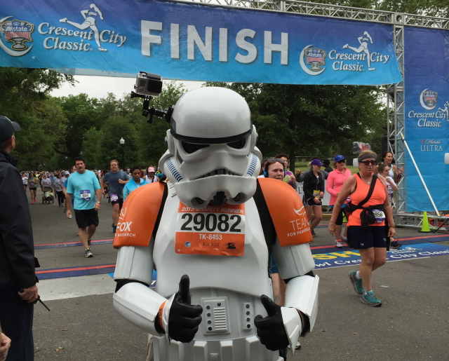 The Crescent City Classic 10K features charity runners who sometimes go all out with costumes, like the Stormtrooper seen here. (Photo courtesy Mallory Whitfield)