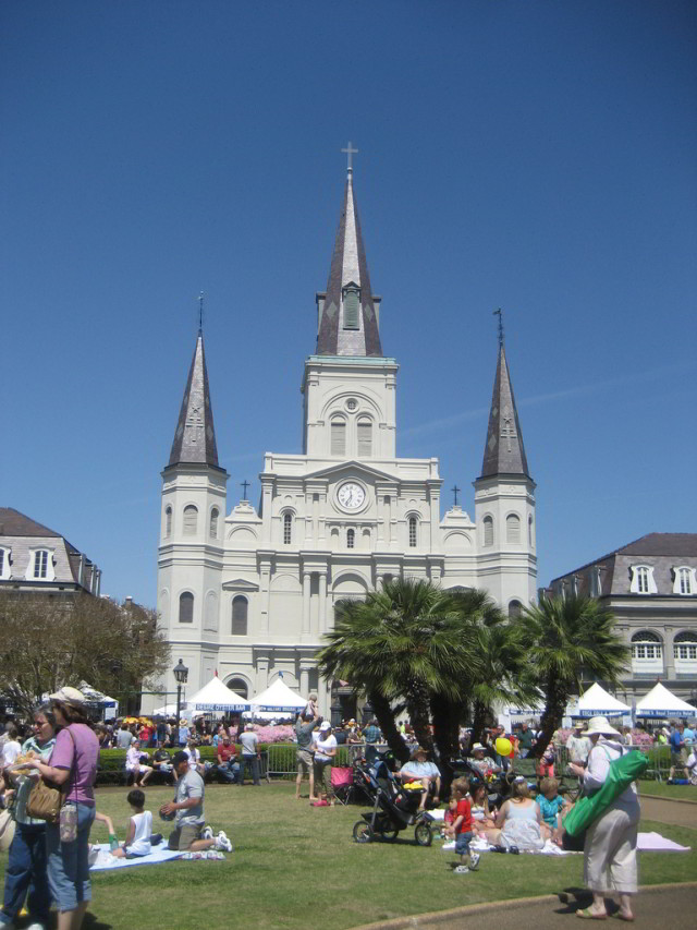 Hotel Monteleone is just a short walk from Jackson Square, which plays host to many of the musicians and food vendors featured at French Quarter Festival. Photo courtesy Infrogmation via Flickr.