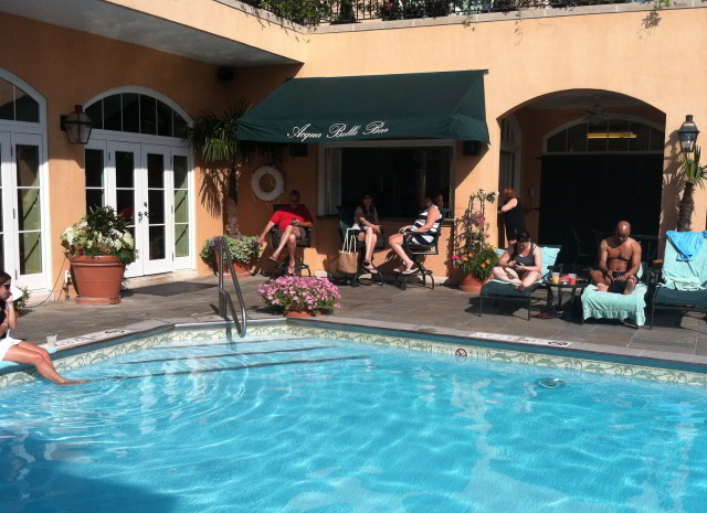 Cool off this summer in New Orleans at our rooftop pool and grab a drink from Hotel Monteleone's poolside bar, Acqua Bella.