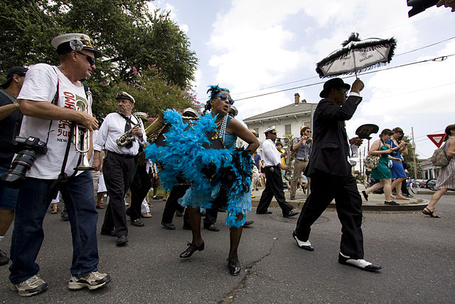 One of the highlights of Satchmo SummerFest is the 'Satchmo Salute' Second Line Parade honoring Louis Armstrong. (Photo courtesy Derek Bridges via Wikimedia Commons)
