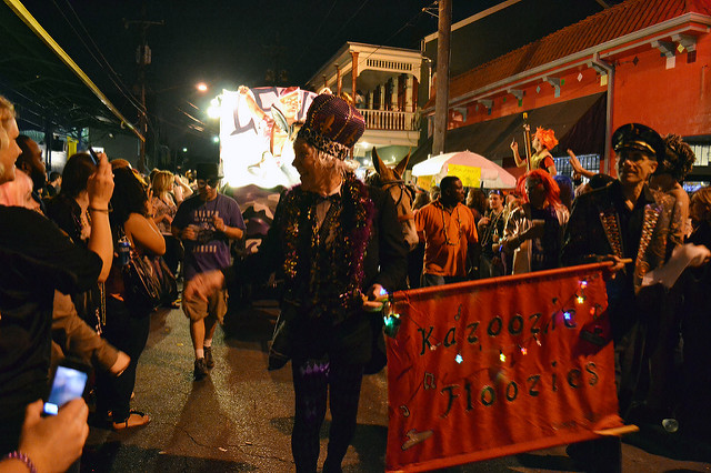 Krewe du Vieux passes many popular bars and nightclubs on Frenchmen Street before heading into the French Quarter. (Photo via Flickr user Melanie Innis)