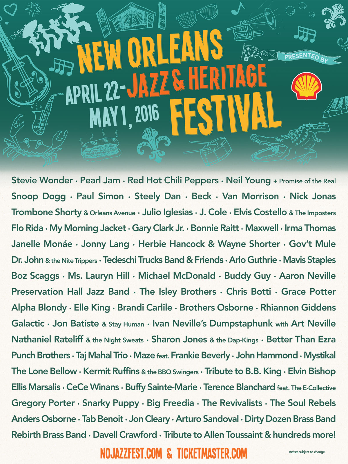 The 2016 Jazz Fest lineup.