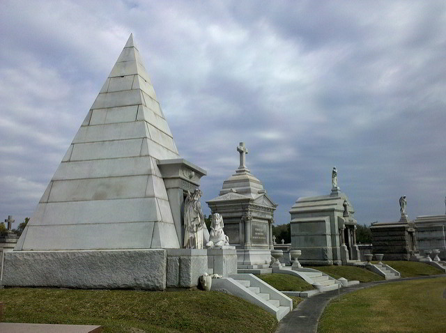 """Metairie Cemetery includes many interesting sites, including a pyramid shaped tomb and the """"Weeping Angel"""" statue. (Photo via Flickr)"""