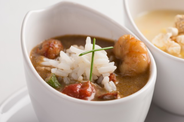 Seafood Gumbo with Gulf Shrimp and Crawfish at Criollo Restaurant, inside Hotel Monteleone in the New Orleans French Quarter