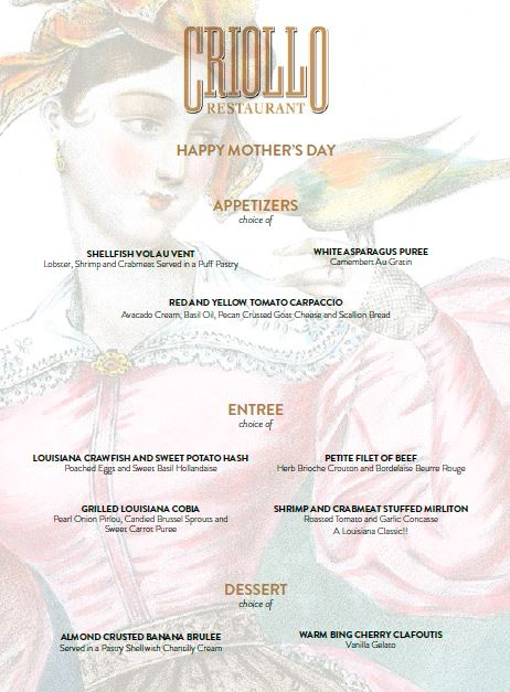 Criollo Restaurant: Mother's Day menu 2016