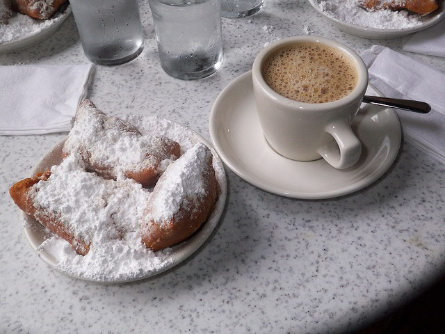 Hotel Monteleone is a short walk away from the beignets and cafe au lait of world-famous Cafe du Monde. (Photo courtesy Flickr user Todd Carr)
