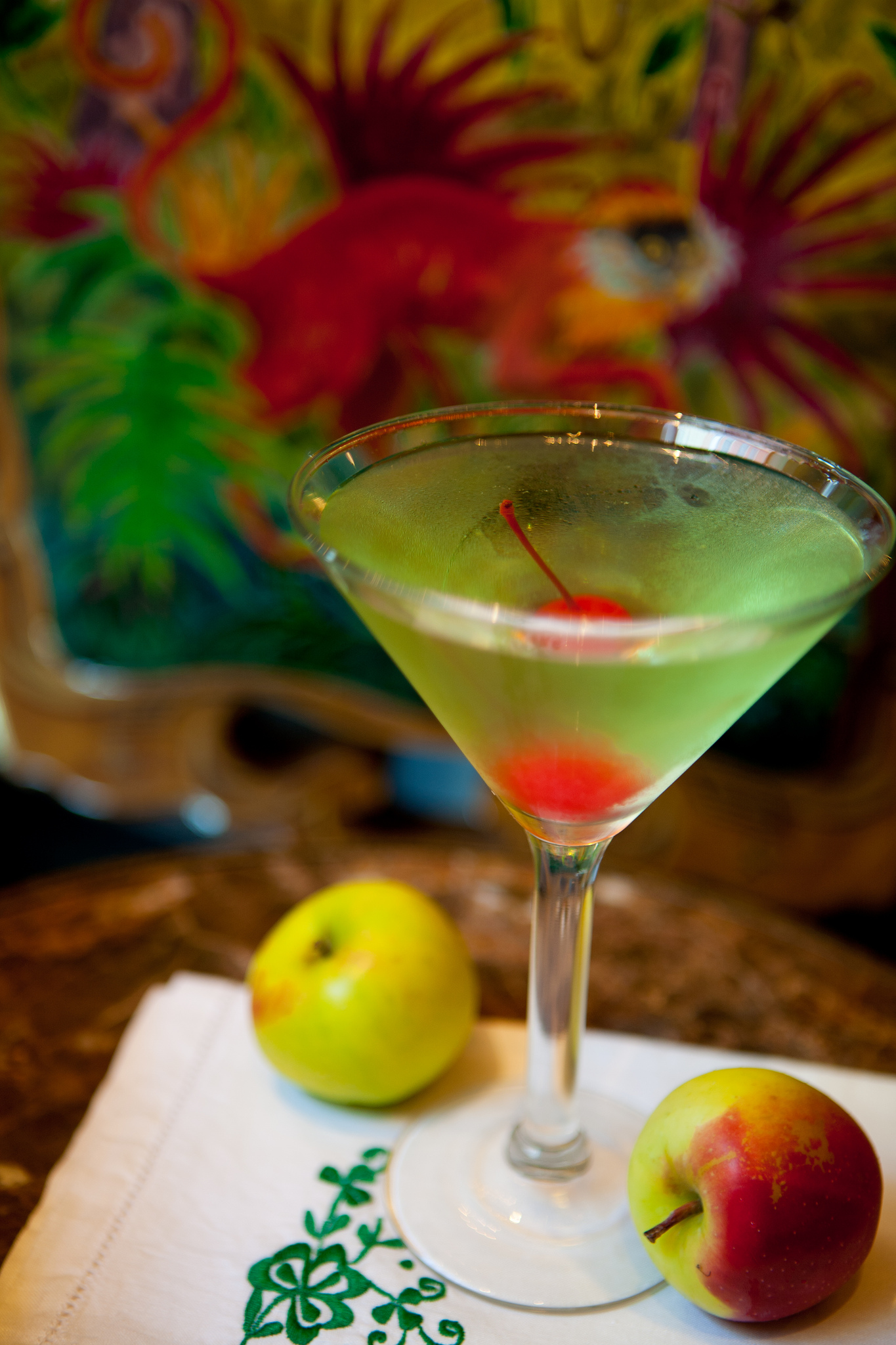 Our take on a sour apple martini, this cocktail from the Carousel Bar is a tart treat you won't want to miss!