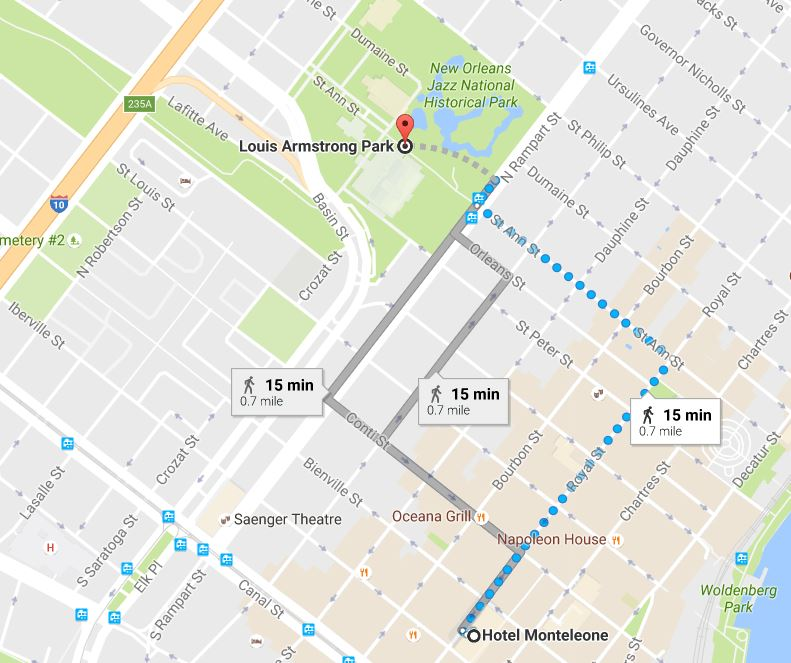 It's just a quick 15-minute walk from Hotel Monteleone to Louis Armstrong Park, the site of Treme Creole Gumbo Festival.