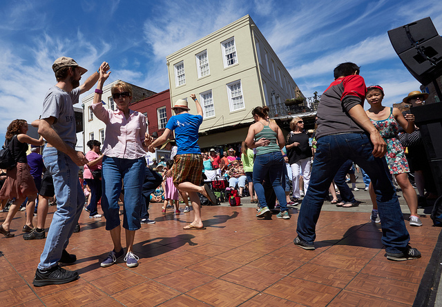 Take advantage of free dance lessons at French Quarter Fest! (Photo courtesy Flickr user Derek Bridges)