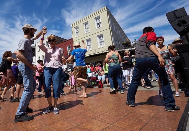 Take advantage of free dance lessons at French Quarter Fest! (Photo courtesy Flickr user Derek Bridges)