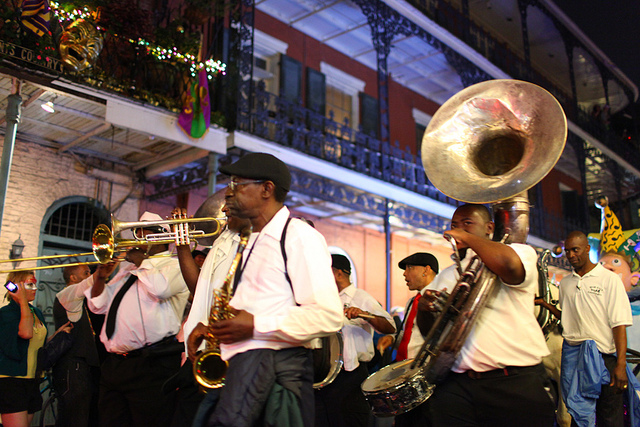 Mardi Gras season in New Orleans officially kicks off with Krewe du Vieux, one of the few parades to march through the French Quarter. (Photo courtesy Entouriste)
