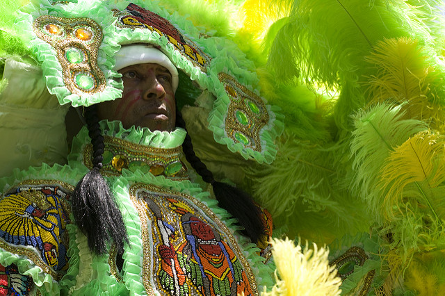 Each Mardi Gras Indian spends all year creating an intricate new suit of beads and feathers. (Photo courtesy Flickr user Derek Bridges)