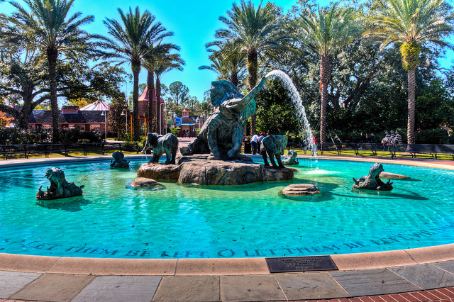 """Before heading into Cool Zoo to experience the """"Gator Run"""" lazy river, pay a visit to the iconic elephants fountain inside Audubon Zoo. (Photo courtesy Flickr user Michael Hicks.)"""